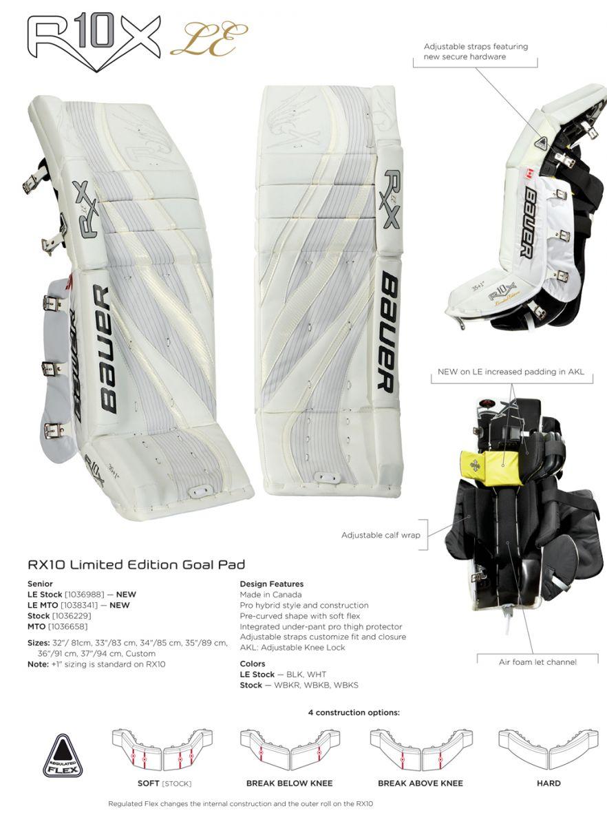 Bauer Re-Flex RX10 LE Pro Goalie Leg Pads | Senior Leg Pads | Hockey